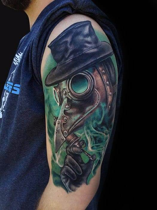 Colored Plague Doctor Tattoo