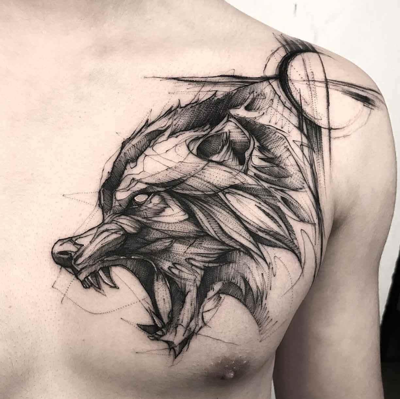 Wolf Sketch Tattoo