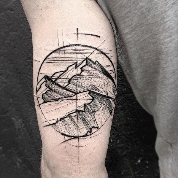 Mountain Traveler Sketch Tattoo