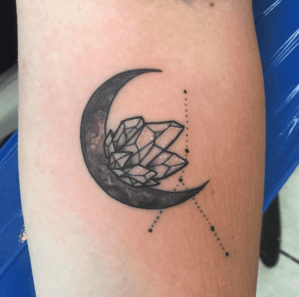 Crystal Moon Constellation Tattoo