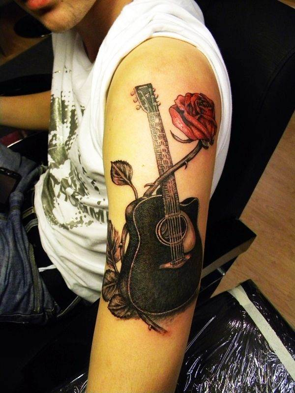 Rose Guitar Tattoo