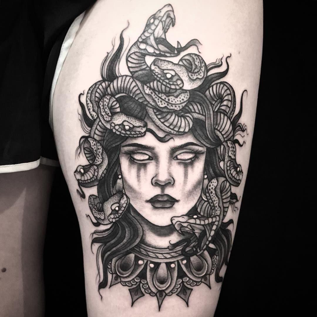 Medusa Thigh Tattoo