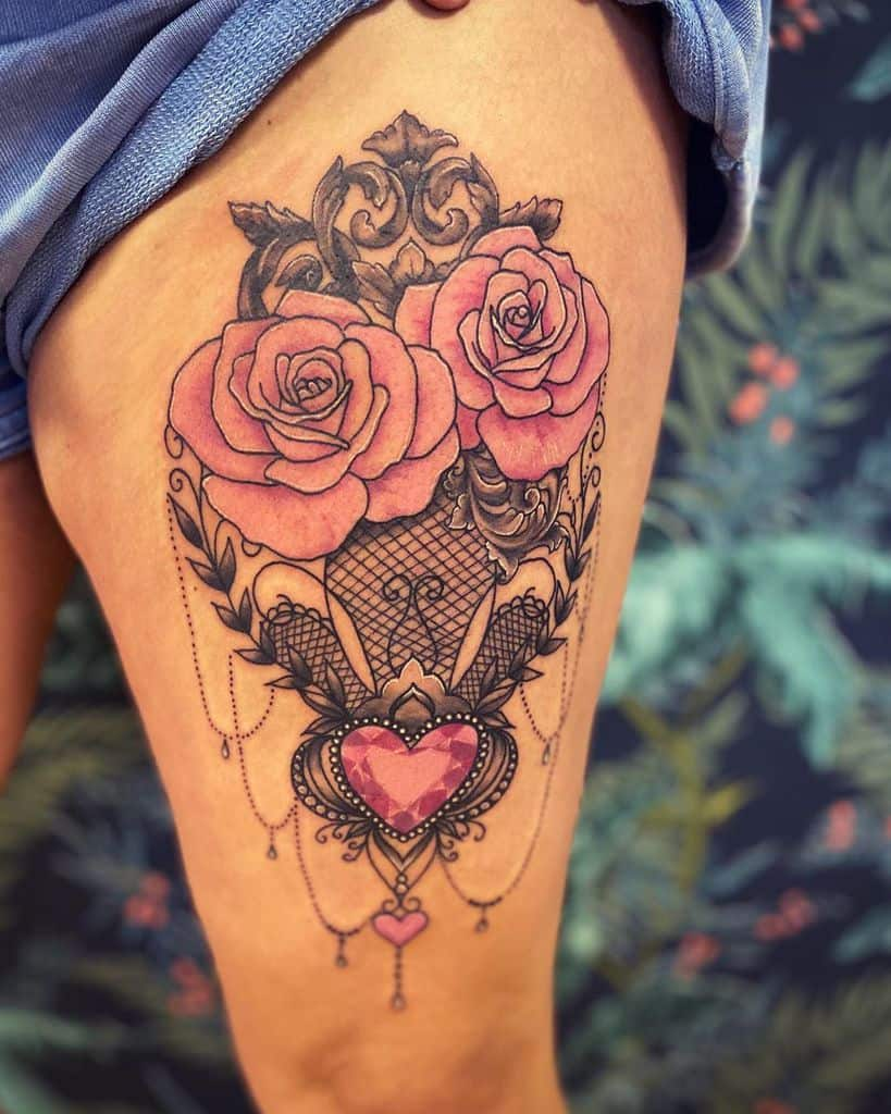Human Heart of Flowers Thigh Tattoo