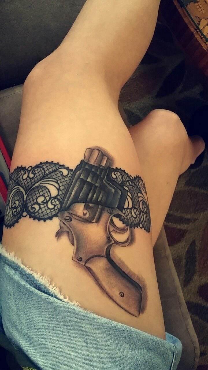 Garter Gun Thigh Tattoo