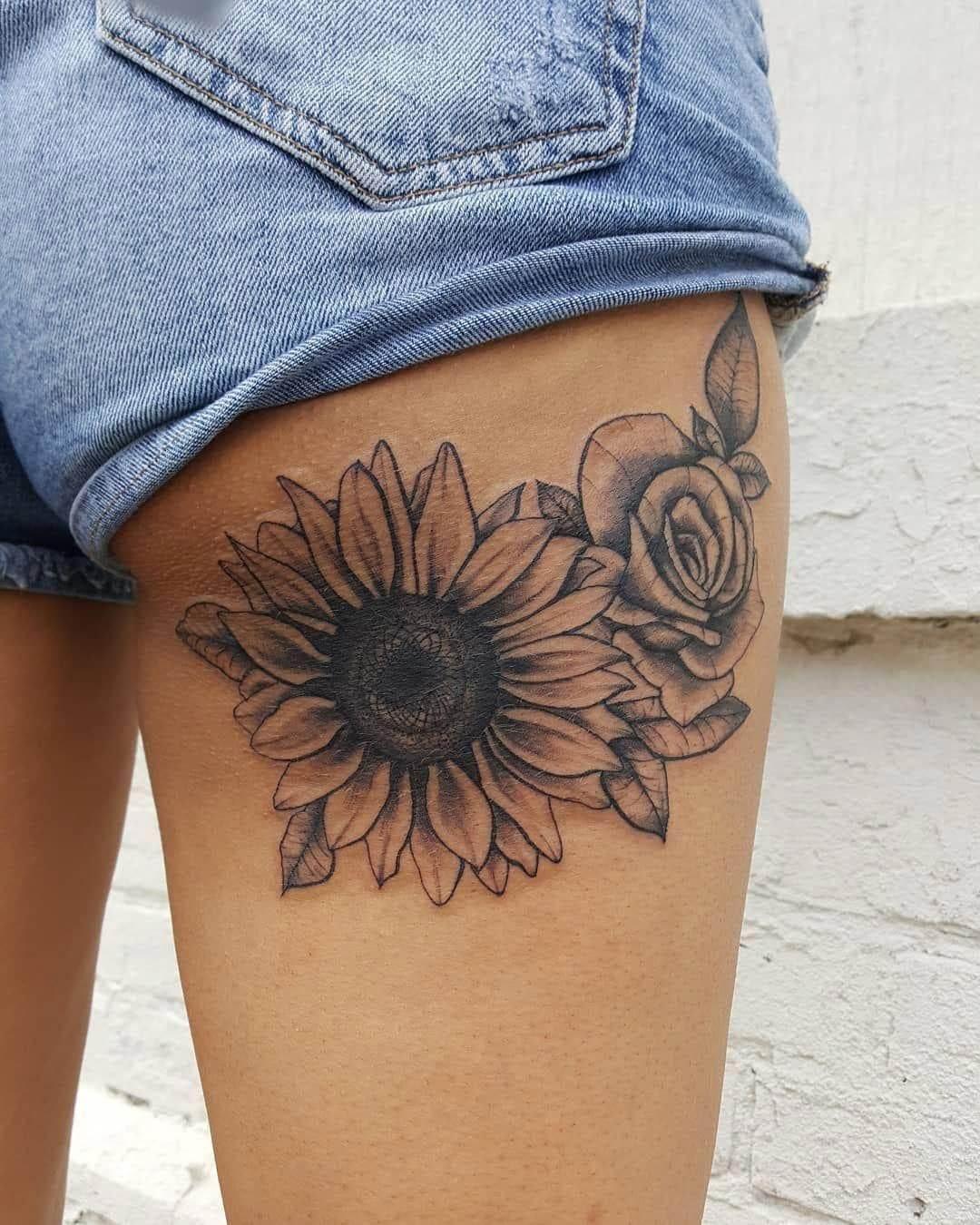 Sunflower Shine Thigh Tattoo