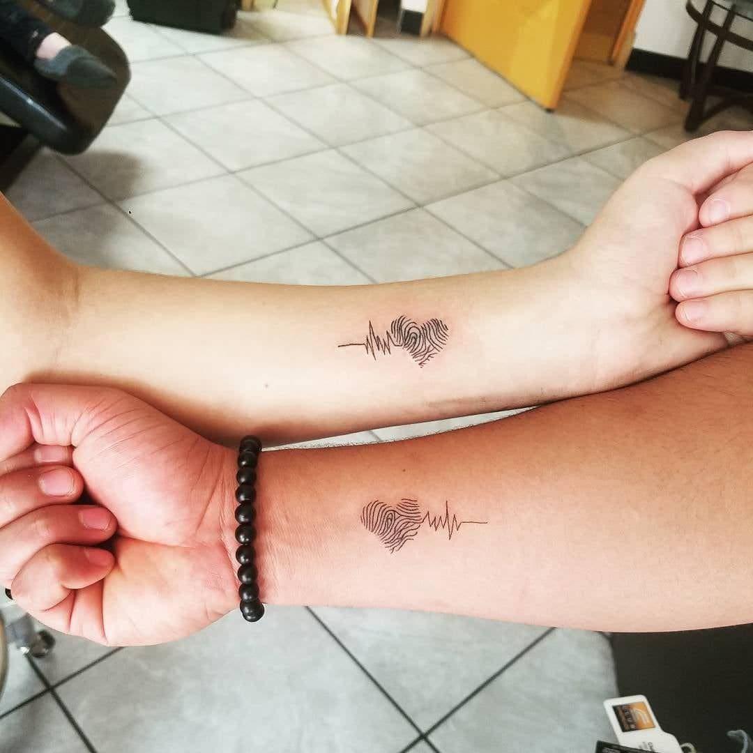Fingerprint Heart Tattoo mother daughter