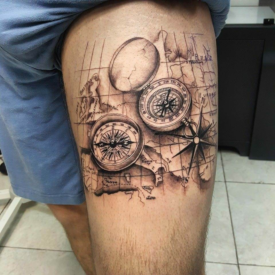 Ship Compass Tattoo