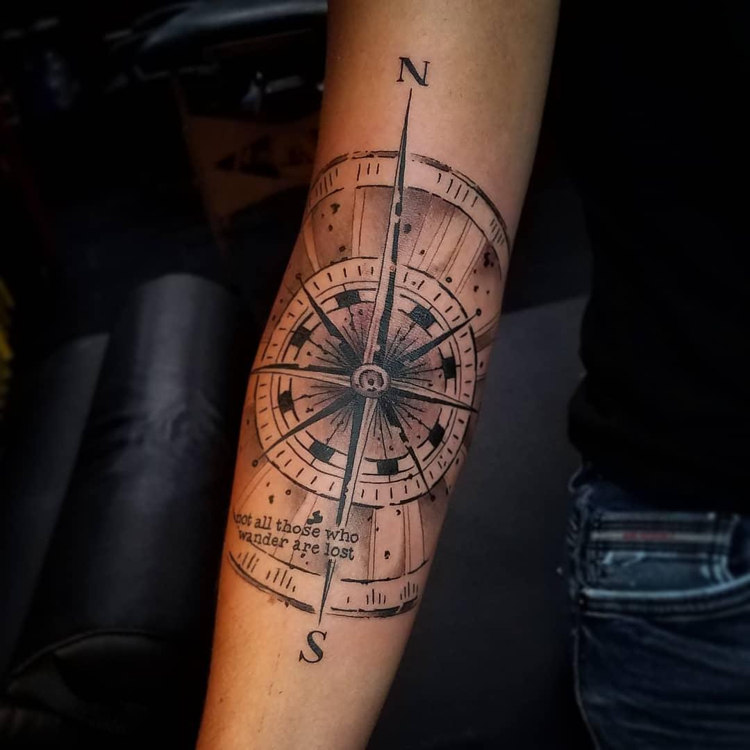 Geometric Compass Tattoo
