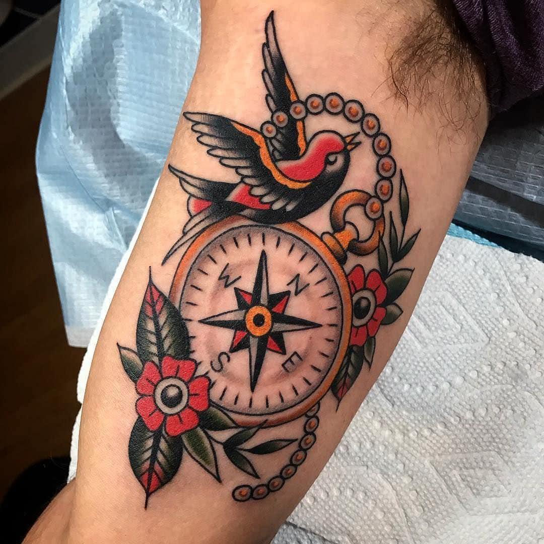 Classic Compass Tattoo