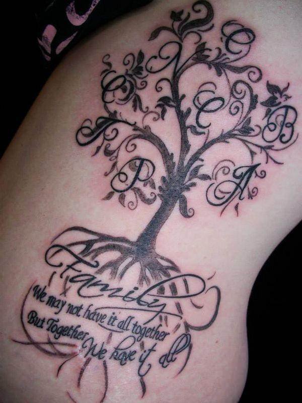 Rose Family Tree Name Tattoo