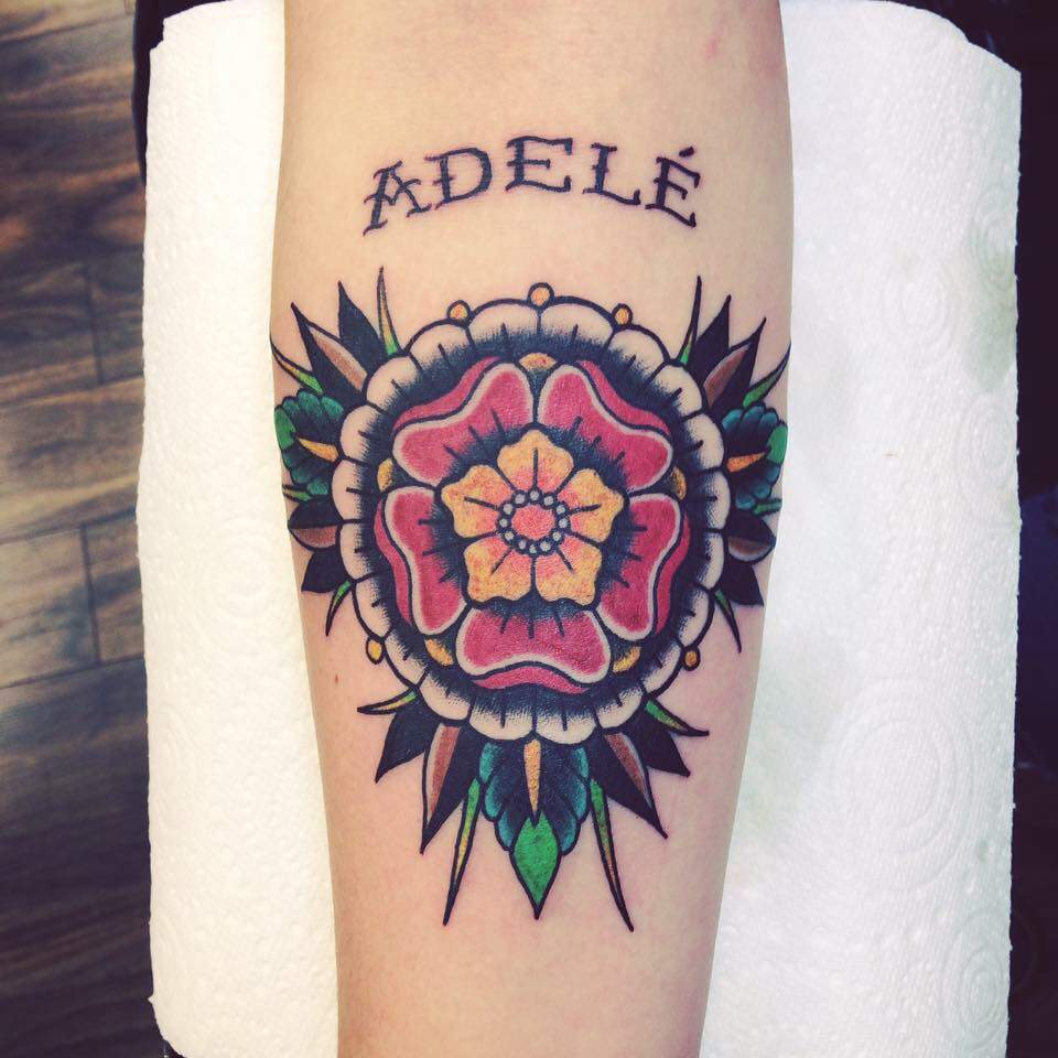 floral name tattoo