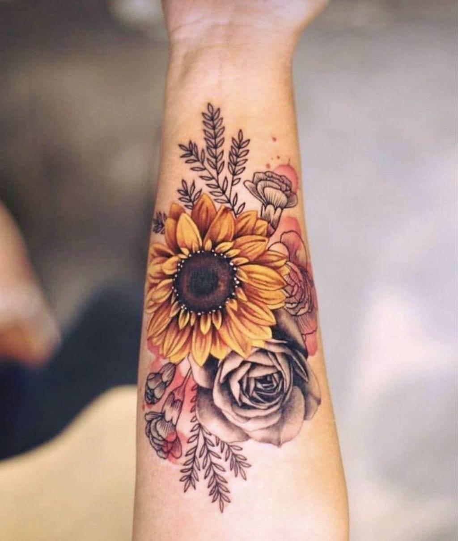 Black & White Sunflower Scenery tattoo