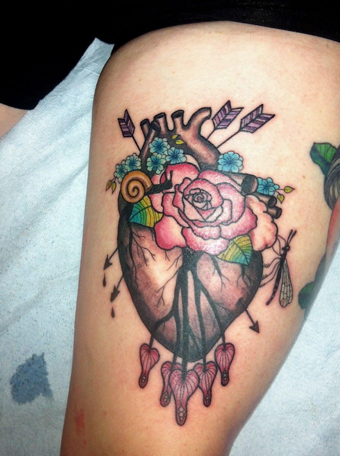 Flowered Heart Tattoo