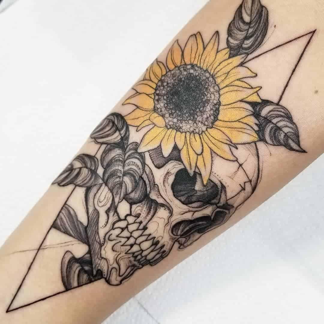 Sunflower Skull Tattoo