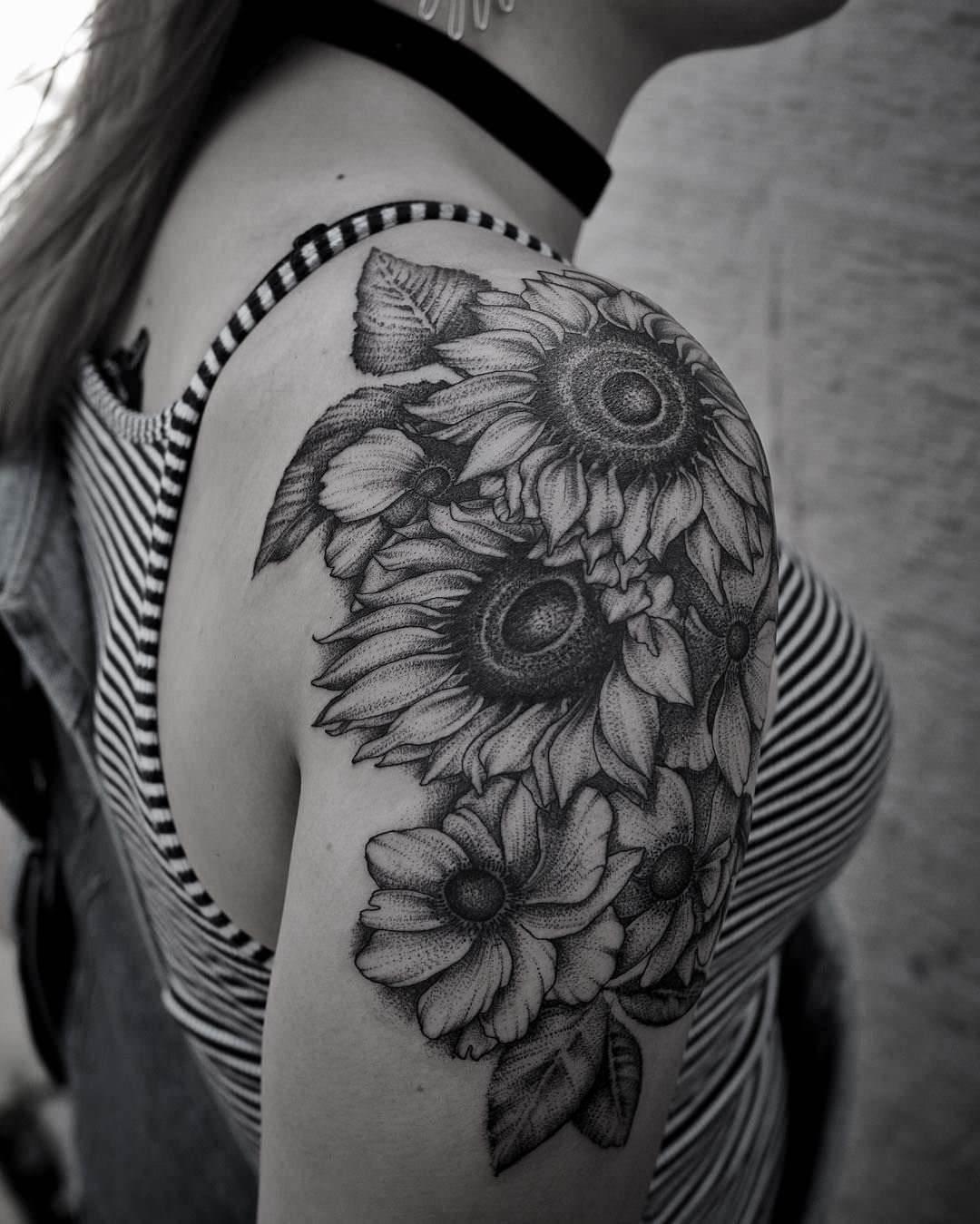 Dimensional Sunflower Tattoo