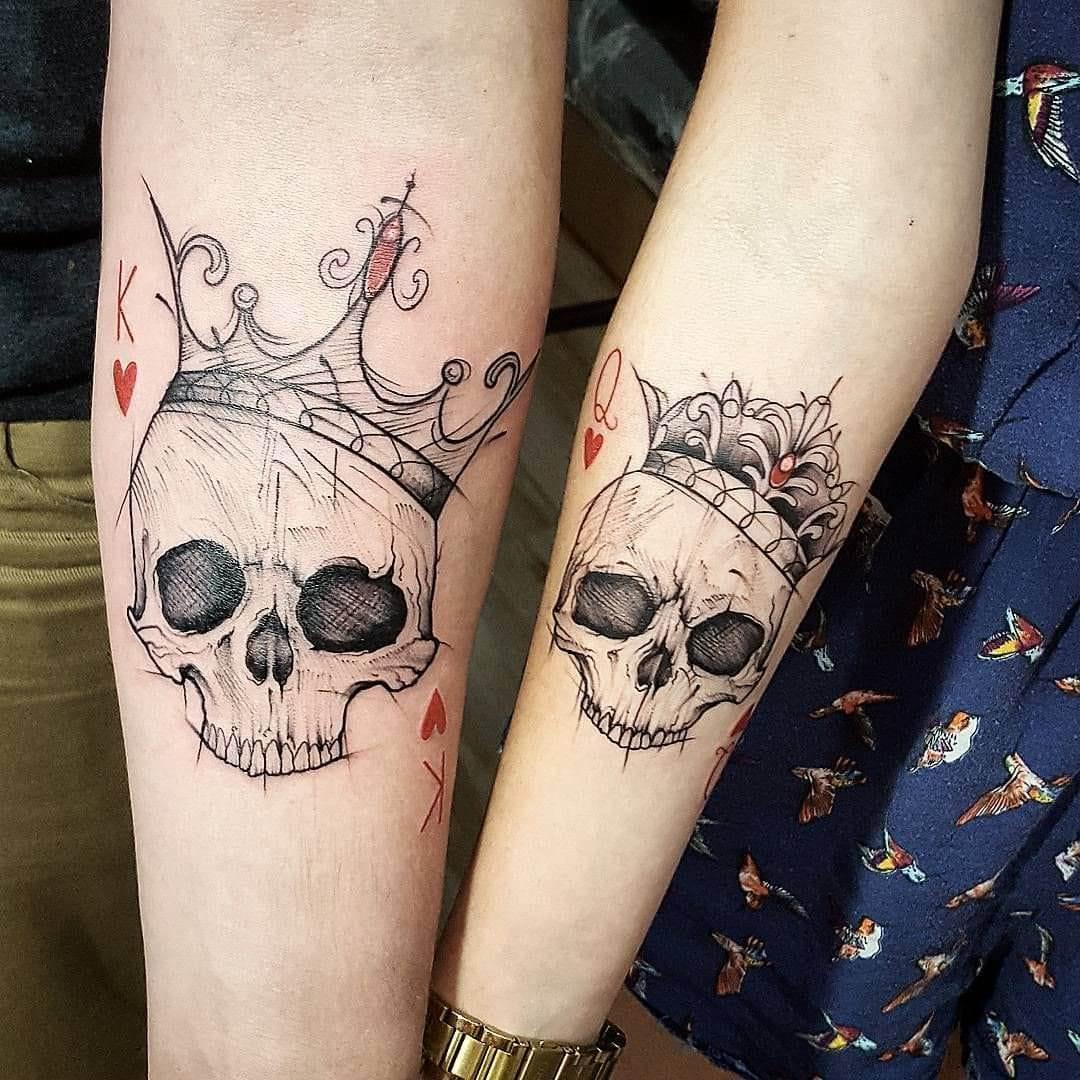 skull tattoos couple