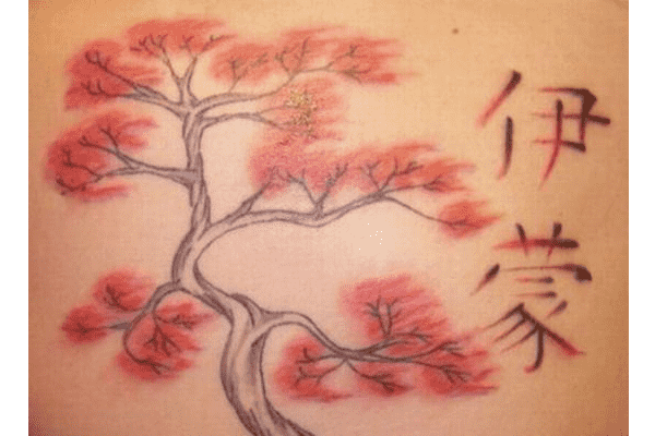 Cherry Blossom Tattoo With Oriental Symbols