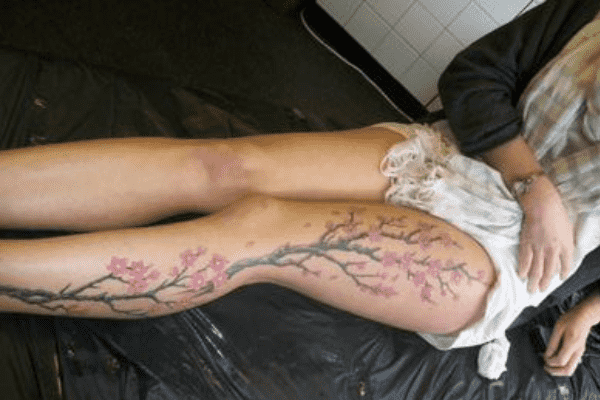 Cherry Blossom Leg Tattoo
