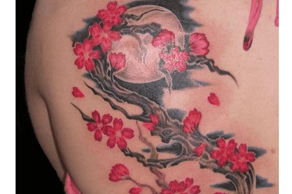 Moon and Cherry Blossom Tattoo