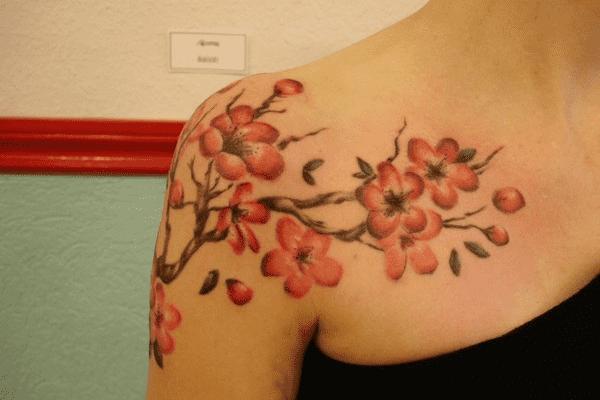 Cherry Blossom Shoulder Tattoos