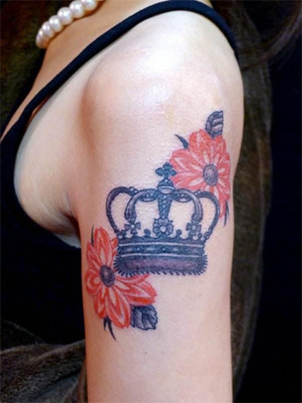 Crown Flower Tattoo
