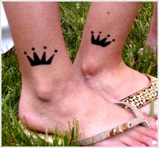 Cute Small Crown Tattoo on the Foot