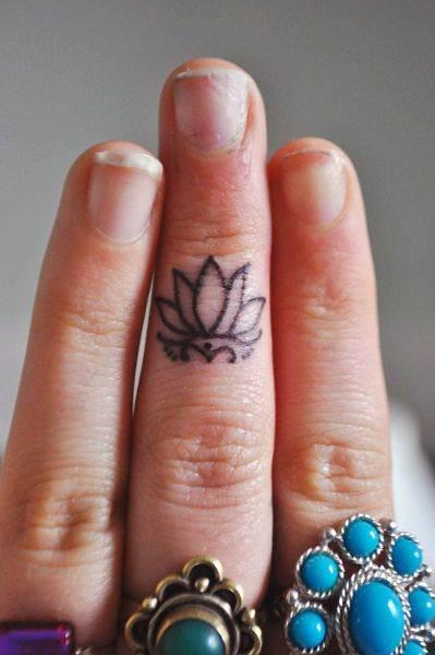 Finger Lotus Tattoo