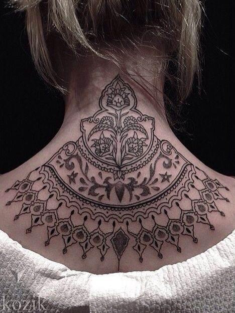 Black Tattoo on Neck