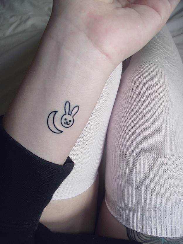 Cute Bunny and Moon Tattoo
