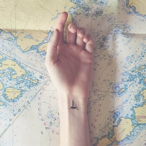 Lovely Sailboat Tattoo on The Wrist
