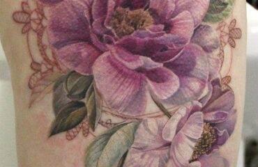 No Line Flower Tattoos