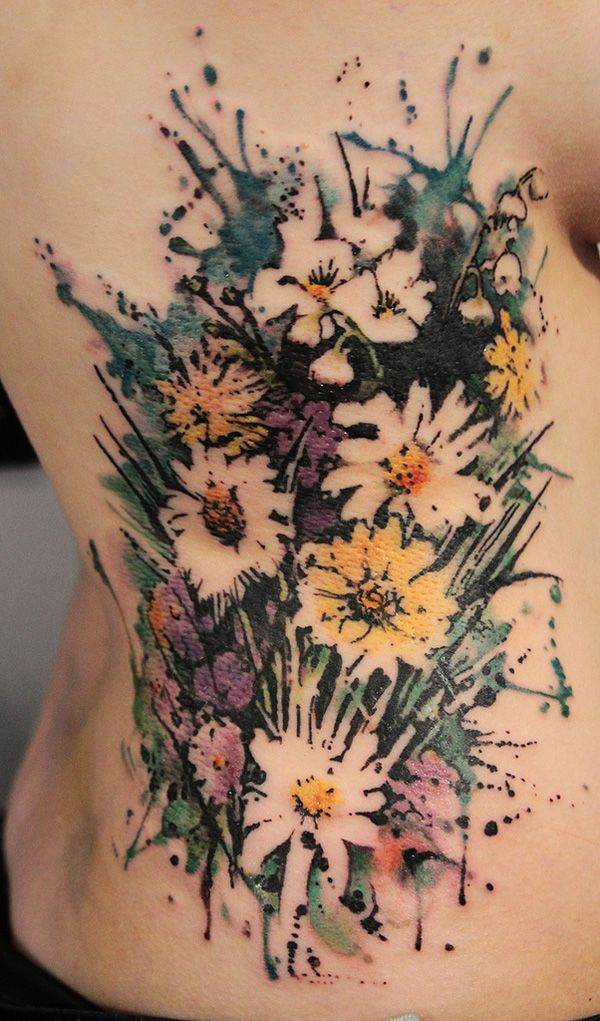 No Line Watercolor Tattoo