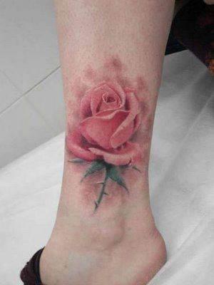 Pretty No Line Rose Tattoo
