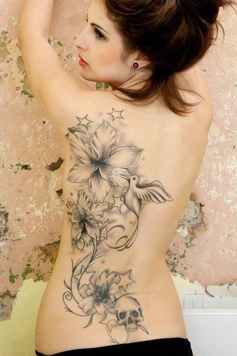 Bird and Flower Tattoo