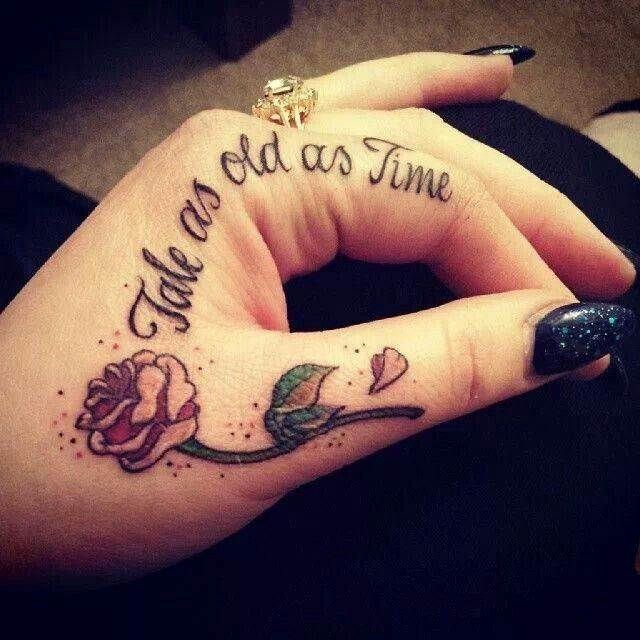 Quote and Flower Hand Tattoo