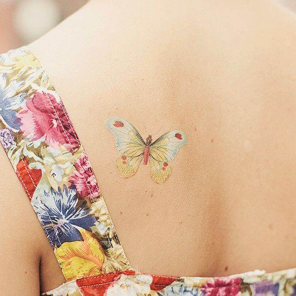 Butterfly No Line Tattoo