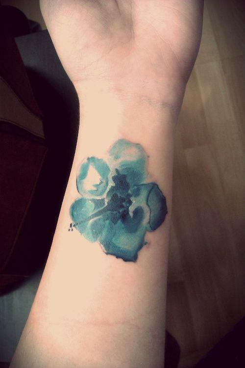 Blue Watercolor Tattoo