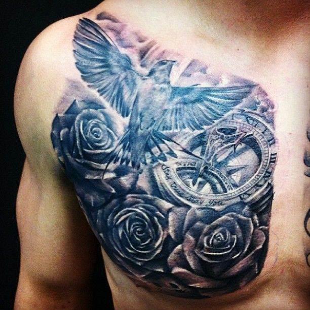 Bird Tattoo on Chest