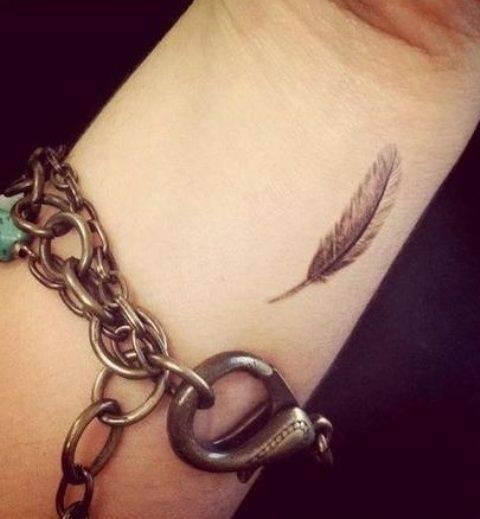 Tiny Feather Tattoo On the Wrist