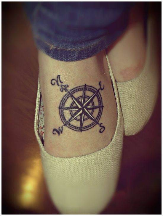 Instep Compass Tattoo