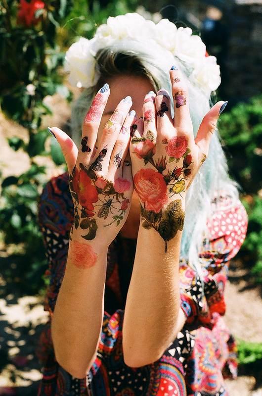 Flower Tattoo Designs on Hands