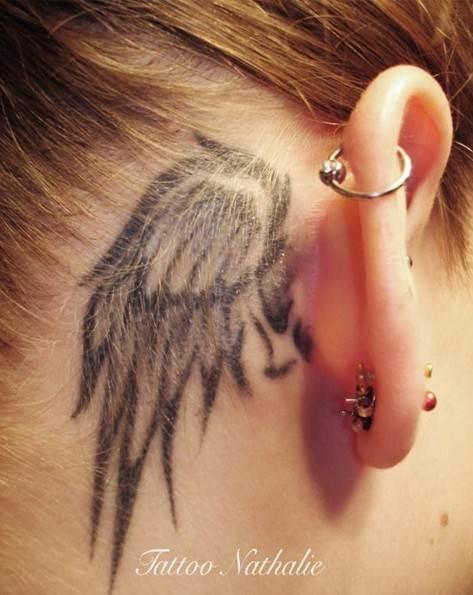 30 Angel Tattoos Designs: Cute Small Angel Wing Tattoo Behind Ear