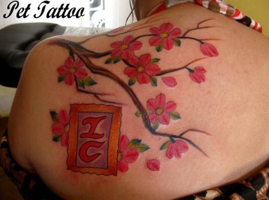 Cute Cherry Tattoos Designs: Cherry blossom tattoo on shoulder for girl