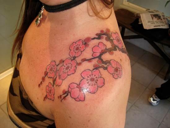 Cherry Tattoos Designs: Cherry blossom flower tattoo on shoulder for girl
