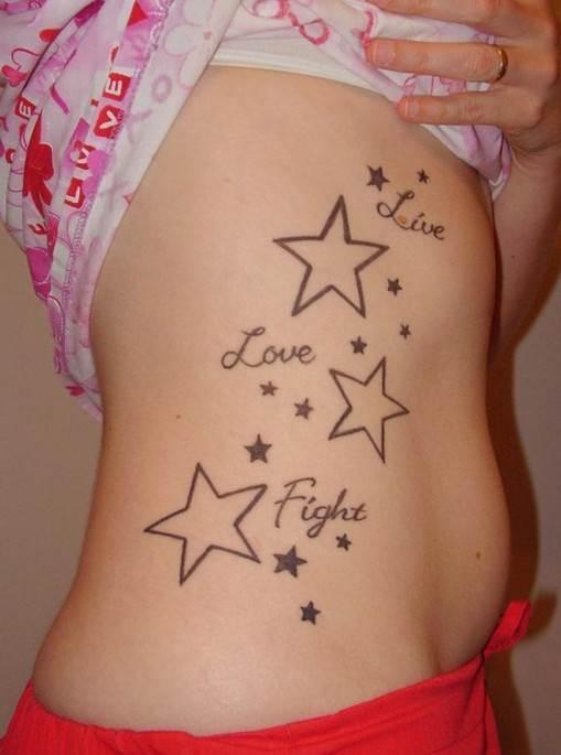 Cute star tattoo ideas: Side of body tattoos