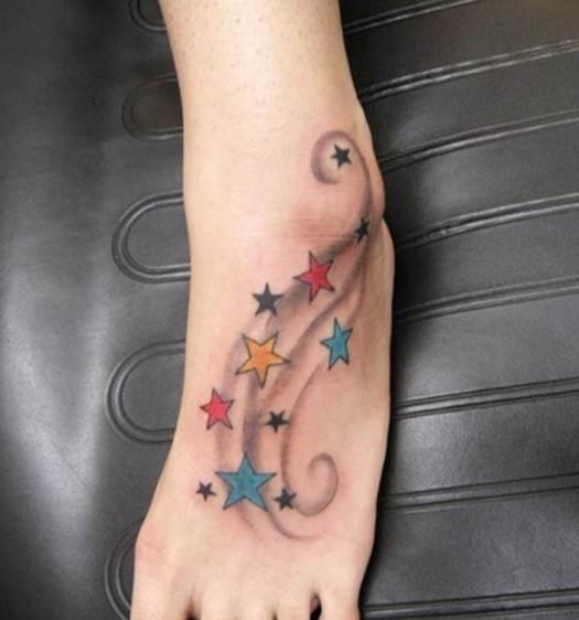 Star tattoo designs with swirls: Foot tattoos for girls