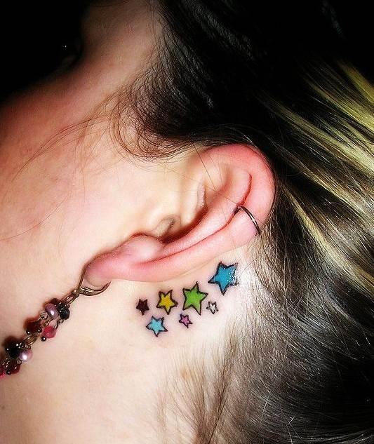 Star tattoos designs for girls: Behind the ear tattoos ideas