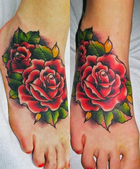 Rose tattoo on foot: Women tattoos