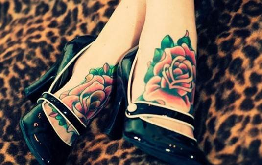 Coloured rose tattoo: Foot tattoos for girls