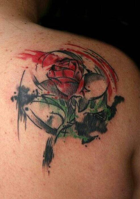 Beauty and the Beast watercolor rose tattoo